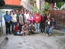 The Dibrugarh, Tinsukia and Dhemaji teams with Mr. Saikia at the courtyard of his Mona Lisa Hotel in Dibrugarh, Nov 2009