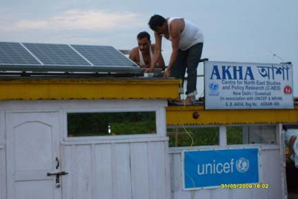 Solar Ice Line Refrigerators (ILR)donated  by UNICEF for the  three Boat Clinics of upper Assam - Akha in Dibrugarh, Swaminathan in Tinsukia and Shahnaz in Dhemaji being installed at  Boat Clinic Akha.