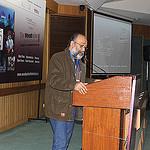 C-NES Managing Trustee  Sanjoy Hazarika addressing a gathering after the screening at Woodpecker Film Festival, New Delhi, December 2013