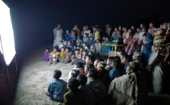 Screening of documentary on family planning at Kankurmukh, Jorhat