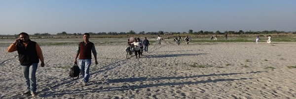 The Morigaon health team coming from camp at Dimbur Char
