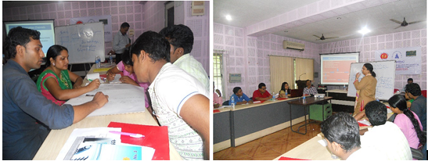 Group activity at the training and (right) Sikha Borthakur State BCC Expert, NHM Assam training participants on IPCC