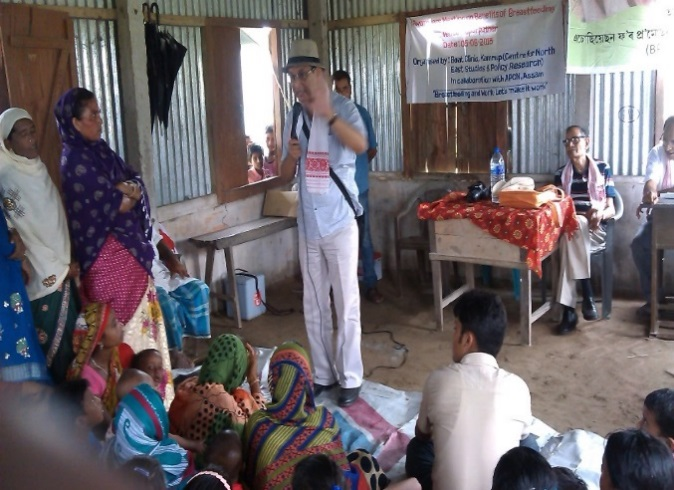 Dr. J.N. Sarma, former HOD, Pediatrics department, Gauhati Medical College delivering his speech on exclusive breast feeding at Toparpathar village, Kamrup