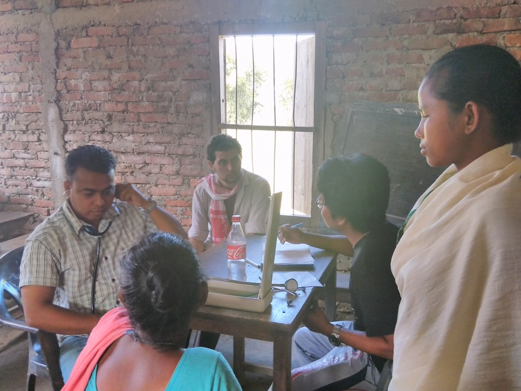 Journalist Catherine Davision interacting with villagers  at Bhekeli sapori, Majuli.