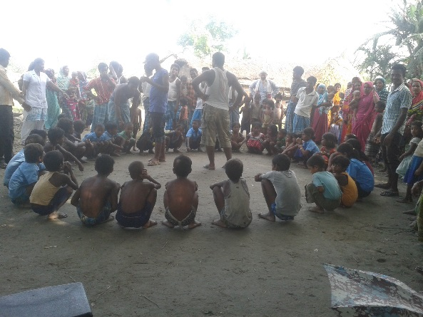 Children engrossed in games at Sonitpur's Sarder char