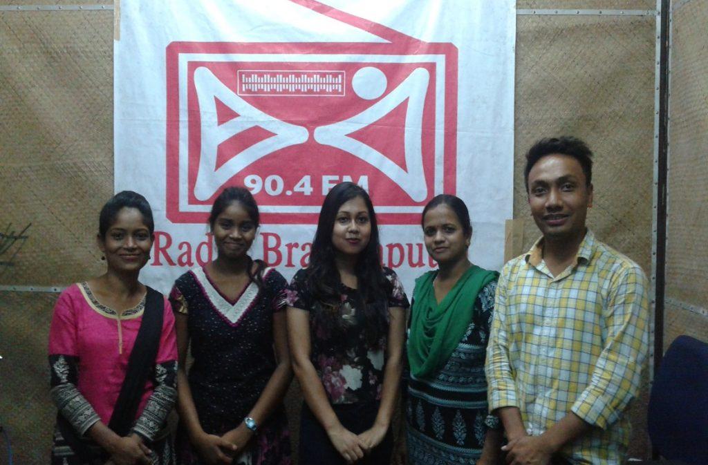 C-NES intern Maclina Dutta (centre) with the reporters of Radio Brahmaputra Dibrugarh