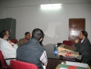 Dibrugarh ADC, Mr. Amitabh Rajkhowa meets with Mr Sandeep Ghosh, Secretary, Assam Branch of Indian Tea Association (in brown jacket), Sanjoy Hazarika and Sanjay Sharma (APM) to discuss the proposed Community Radio Station in Dibrugarh, Nov 2009