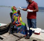 Rapid antigen test on Covid-19 by Bongaigaon boat clinic at different char villages.