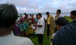 Assistant Programme Manager,Manik Boruah address villagers on health and hygiene at an awareness camp at Dhemaji's Mesaki Sapori.