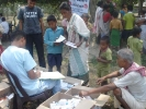 Medicine being distributed by the pharmacist at the inaugural camp in Lakhimpur