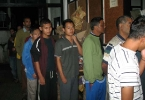 The inmates of San-Ker rehabiltiation Centre in Shillong  line up  for the dinner, cooked in the Hazarika home in Shillong,  to mark the fourth anniversary of the passing of Maya Hazarika, the mother of Sanjoy and Dr. Suzoy Hazarika.