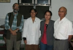 Dr. Sandi Syiem( right) and his senior medical staff at a dinner provided to the inmates of San-Ker rehabiltiation Centre in Shillong which Sandi, a member of the C-NES AdvisoryCouncil runs, for those suffering from mental and other challenges.There are 124 residents in the centre  Sanjoy Hazarika is also a member of the Board  of Trustees of San-Ker,