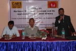 Mr Ashok Rao, Programme Manager, C-NES welcomes participants at  the training held for Boat Clinic Staff at Guwahati. Sitting to his left is Dr PN Bora, SPM, NRHM. To Dr Bora\'s left is Associate Programme Manager, Sanjay Sharma.