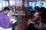 The  C-NES Education team during a meeting with Sara Poelhman, Education Specialist, UNICEF India office and Deepa Das, Education Officer, UNICEF, Assam onboard Boat Clinic Shahnaz  during a visit to Lowkiwali feeder school in Dibrugarh