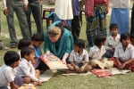 Sara Poelhman, Education Specialist, UNICEF India office in an interaction with  children of Lowkiwali sapori feeder school