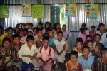 Children at an awareness camp on sanitation and hygiene  along with global hand washing day observed at Barpeta\'s Muwamari LP school,in Mondia Development Block