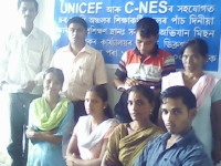 Teachers training in Dibrugarh district for bridge courses and feeder school teachers  organized by C-NES in collaboration with Assam Sarba Shiksha Abhigyan (SSA) in September 2008.