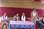 DC Tinsukia, Dr KK Dwivedi, speaking at the function on 28 Dec, 2007 at Guijan Ghat, Tinsukia while, (seated from left) Sanjoy Hazarika, Shahnaz,  Swaminathan and Rustam Aiyar listens.