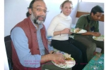 Sanjoy Hazarika,with Francesca and Shekhar Aiyar enjoying lunch on board SB Swaminathan on 28 Dec at Tinsukia.