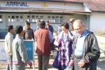 The Managing Trustee of C-NES, Mr Sanjoy Hazarika(back towards us- in waistcoat & cap) welcomes the Aiyars at the Dibrugarh airport on 27 Dec, 2008.