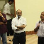 CEO, C-NES Dr Dipankar Das speaking before the screening at Guwahati while Sanjoy Hazarika and Maulee Senapati, the Director listen
