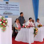 Sanjoy Hazarika addressing the dedication ceremony while (sitting, from left)) Dr. Bamin Tada Advisor (Health) North East Council,CM,Assam Mr Tarun Gogoi and Mr Jitesh Khosla, Additional Chief Secretary Govt of Assam listens
